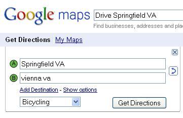 Google Biking directions screen shot