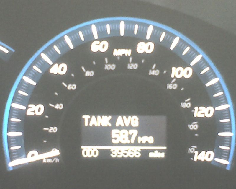 58 mpg display on camry